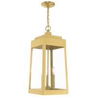 Livex 20860-12 Oslo 3 Light 11 inch Satin Brass Pendant Lantern Ceiling Light