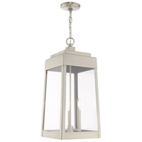 Livex 20860-91 Oslo 3 Light 11 inch Brushed Nickel Outdoor Pendant Lantern