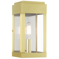 Livex 21231-12 York 1 Light 9 inch Satin Brass Outdoor Wall Lantern