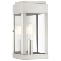 Livex 21231-91 York 1 Light 9 inch Brushed Nickel Outdoor Wall Lantern