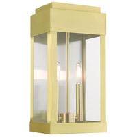Livex 21235-12 York 2 Light 16 inch Satin Brass Outdoor Wall Lantern
