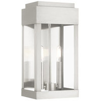 Livex 21235-91 York 2 Light 16 inch Brushed Nickel Outdoor Wall Lantern