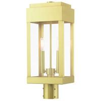 Livex 21236-12 York 2 Light 20 inch Satin Brass Outdoor Post Top Lantern