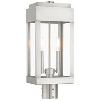 Livex Lighting 21236-91 York 2 Light 20 inch Brushed Nickel Outdoor Post Top Lantern