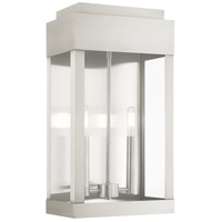 Livex 21238-91 York 2 Light 19 inch Brushed Nickel Outdoor Wall Lantern