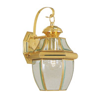 Livex 2151-02 Monterey 1 Light 13 inch Polished Brass Outdoor Wall Lantern