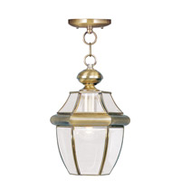 Livex 2152-01 Monterey 1 Light 9 inch Antique Brass Outdoor Hanging Lantern