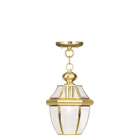 Livex 2152-02 Monterey 1 Light 9 inch Polished Brass Outdoor Hanging Lantern