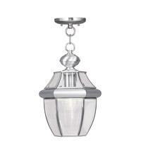 Livex Lighting Monterey 1 Light Outdoor Hanging Lantern in Brushed Nickel 2152-91 photo thumbnail