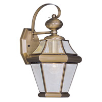 Livex 2161-01 Georgetown 1 Light 15 inch Antique Brass Outdoor Wall Lantern