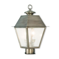 Livex 2166-29 Mansfield 2 Light 17 inch Vintage Pewter Post-Top Lantern