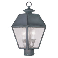 Livex Lighting Mansfield 2 Light Outdoor Post Head in Charcoal 2166-61 photo thumbnail