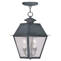 Livex 2167-61 Mansfield 2 Light 9 inch Charcoal Outdoor Hanging Lantern