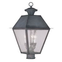 Livex Lighting Mansfield 3 Light Outdoor Post Head in Charcoal 2169-61