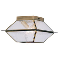 Livex Lighting Mansfield 2 Light Outdoor/Indoor Ceiling Mount in Antique Brass 2175-01
