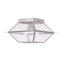 Livex Lighting Mansfield 2 Light Outdoor/Indoor Ceiling Mount in Brushed Nickel 2175-91