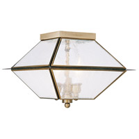 Mansfield 3 Light 12 inch Antique Brass Outdoor/Indoor Ceiling Mount