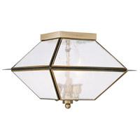 Livex 2176-01 Mansfield 3 Light 12 inch Antique Brass Outdoor/Indoor Ceiling Mount