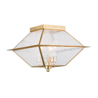 Livex 2176-02 Mansfield 3 Light 12 inch Polished Brass Outdoor/Indoor Ceiling Mount