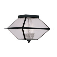 Livex Lighting Mansfield 3 Light Outdoor Ceiling Mount in Black 2176-04