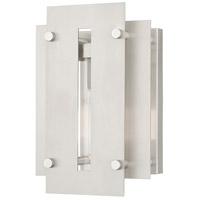 Livex 21771-91 Utrecht 1 Light 10 inch Brushed Nickel Accents Outdoor Wall Lantern
