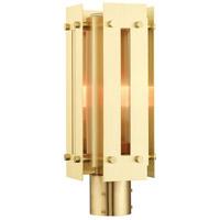Livex 21774-12 Utrecht 1 Light 16 inch Satin Brass Outdoor Post Top Lantern