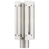 Livex 21774-91 Utrecht 1 Light 16 inch Brushed Nickel Accents Outdoor Post Top Lantern