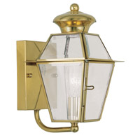 Livex Lighting Westover 1 Light Outdoor Wall Lantern in Polished Brass 2180-02 photo thumbnail