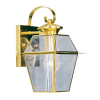 Livex 2181-02 Westover 1 Light 13 inch Polished Brass Outdoor Wall Lantern