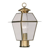 Livex Lighting Westover 1 Light Outdoor Post Head in Antique Brass 2182-01