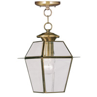 Livex 2183-01 Westover 1 Light 8 inch Antique Brass Outdoor Hanging Lantern photo thumbnail