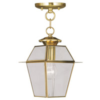 Livex 2183-02 Westover 1 Light 8 inch Polished Brass Outdoor Hanging Lantern