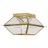 Livex 2184-02 Westover 2 Light 9 inch Polished Brass Outdoor Ceiling Mount