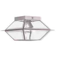 Livex Lighting Westover 2 Light Outdoor/Indoor Ceiling Mount in Brushed Nickel 2184-91