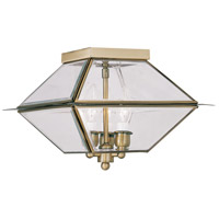 Westover 3 Light 12 inch Antique Brass Outdoor Ceiling Mount