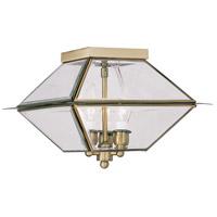 Livex 2185-01 Westover 3 Light 12 inch Antique Brass Outdoor Ceiling Mount