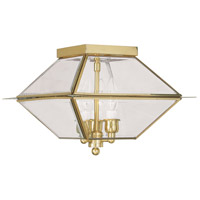 Livex 2185-02 Westover 3 Light 12 inch Polished Brass Outdoor Ceiling Mount