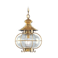 Livex 2225-22 Harbor 1 Light 11 inch Flemish Brass Outdoor Hanging Lantern