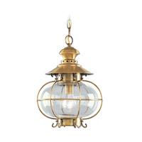 Livex 2225-22 Harbor 1 Light 11 inch Flemish Brass Outdoor Hanging Lantern