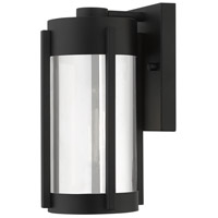 Livex 22380-04 Sheridan 1 Light 10 inch Black with Brushed Nickel Candles Outdoor Wall Lantern