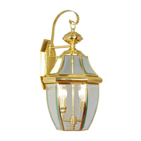 Livex 2251-02 Monterey 2 Light 20 inch Polished Brass Outdoor Wall Lantern