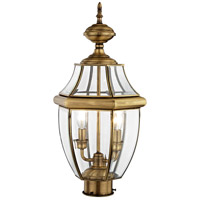 Livex 2254-01 Monterey 2 Light 22 inch Antique Brass Outdoor Post Head