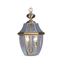 Livex 2255-01 Monterey 2 Light 11 inch Antique Brass Outdoor Pendant Lantern