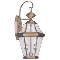 Livex Georgetown 2 Light Outdoor Wall Lantern in Antique Brass 2261-01