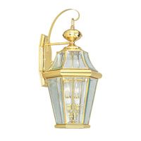 Livex Lighting Georgetown 2 Light Outdoor Wall Lantern in Polished Brass 2261-02