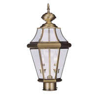 Livex Lighting Georgetown 2 Light Outdoor Post Head in Antique Brass 2264-01