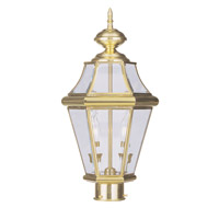 Livex 2264-02 Georgetown 2 Light 21 inch Polished Brass Outdoor Post Head