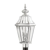 Livex Lighting Georgetown 2 Light Outdoor Post Head in Brushed Nickel 2264-91