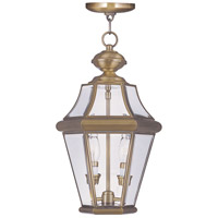 Livex 2265-01 Georgetown 2 Light 10 inch Antique Brass Outdoor Hanging Lantern photo thumbnail