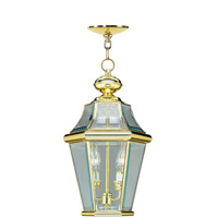 Livex Lighting Georgetown 2 Light Outdoor Hanging Lantern in Polished Brass 2265-02